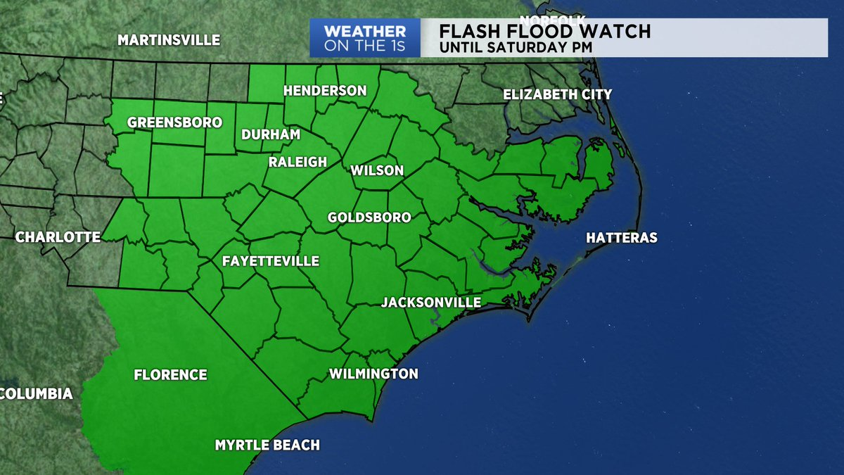 A FLASH FLOOD WATCH continues into Saturday afternoon for much of central and eastern North Carolina. #SpectrumNews #ncwx<br>http://pic.twitter.com/JL91yqFlOM