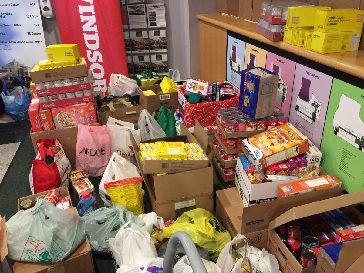 Thanks to everyone who showed up with a monetary donation or canned good.  Here's our haul so far, and don't forget ours Sounds of the Season broadcasts continue as @CBCWindsor opens it doors at 530pm for a live viewing of CBC Windsor News at 6 w @ArmsBumanlagC#CBCSOTSONTTV