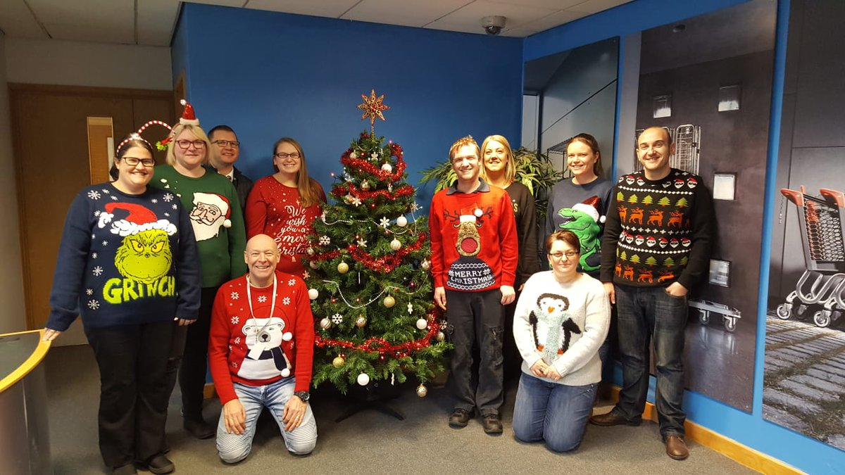 @PlayGemRadio wanzl team at tibshelf taking part in Christmas jumper day @WanzlUKLtd #ChristmasJumperDay