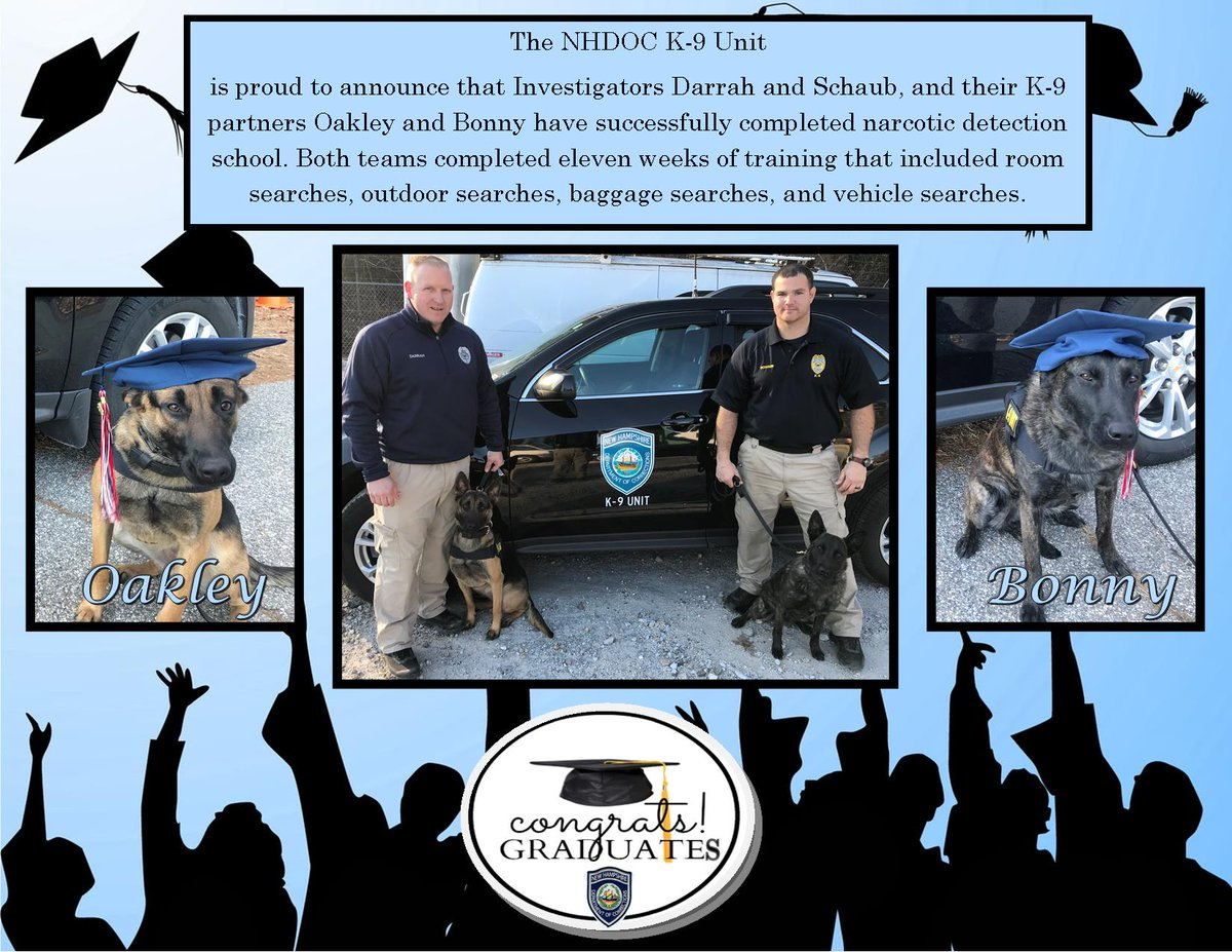 We have some exciting news!! We have new K-9 graduates! #Congratulations #TeamAwesome #NHDOCK9 #WooHoo #K9Bonny #K9Oakley Come join our team http://www.nhdocjobs.compic.twitter.com/hwJZi4IYM9