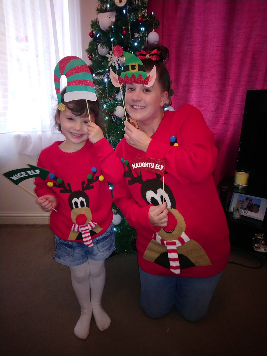 @joandsparky Me and my girl! Who hasnt gone school as shes a bit under the weather but we were still getting into the Christmas jumper day spirit!