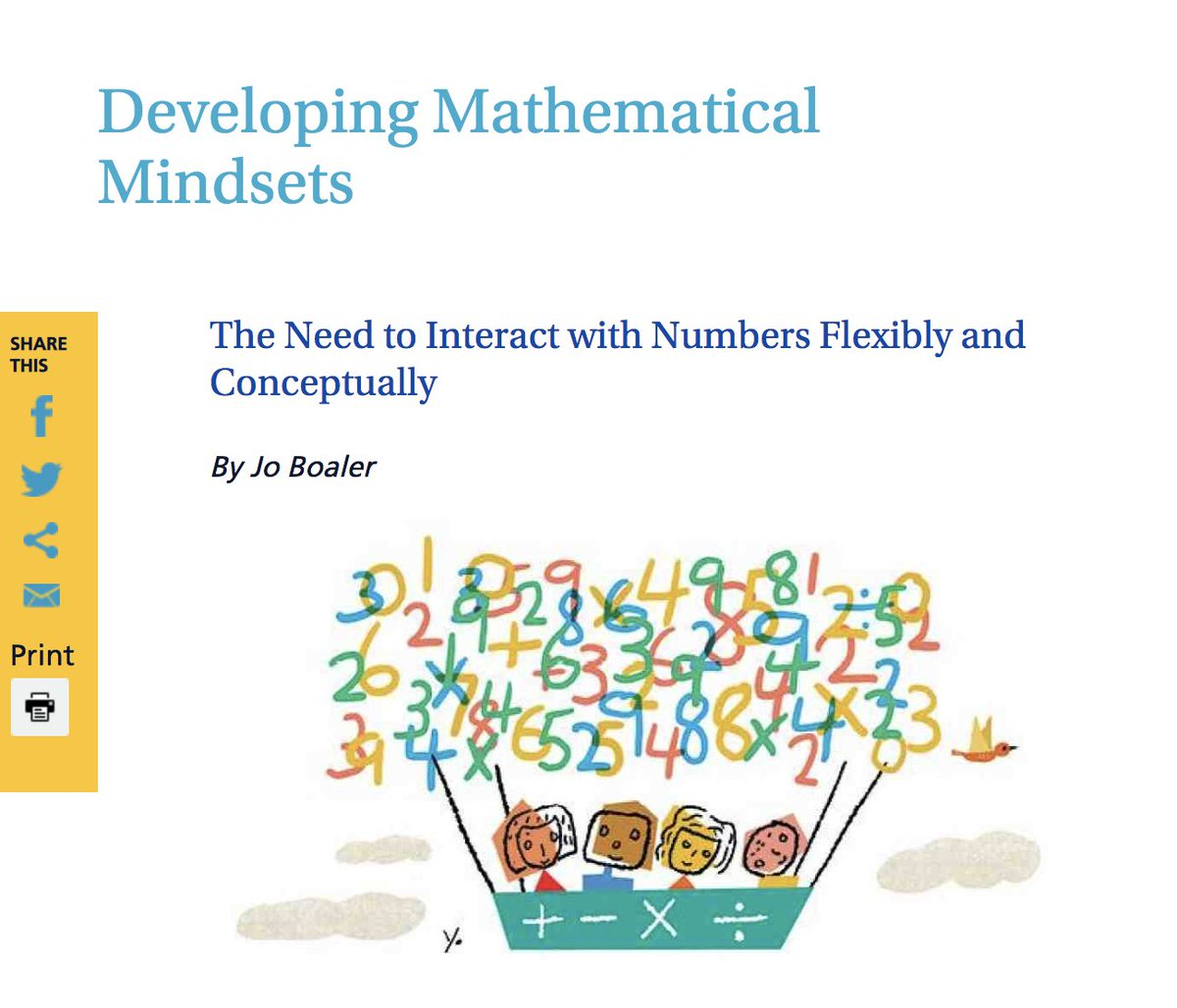 Today the #AmericanEducator publishes an extract from my Mathematical Mindsets book on the need to engage with numbers flexibly, and not through rote memorization. Please retweet, send to your admin, parents etc. @ahtower @AFTUnion Full article is here: https://www.aft.org/ae/winter2018-2019/boaler …