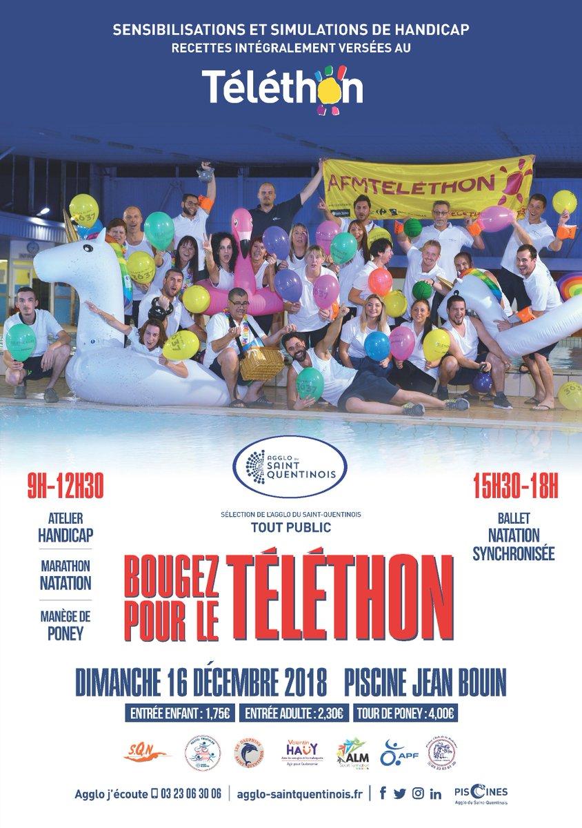 💦Dimanche 16/12, bougez pour le @Telethon_France à la piscine Jean Bouin de l' @AggloStQuentin lors du Grand Bouin !Atelier handicap, marathon natation, manège de poney, ballet natation synchronisée... #Telethon #AggloSaintQuentinois #GrandBouin ➡️bit.ly/2Eok4sK https://t.co/Cj9QYyKapI