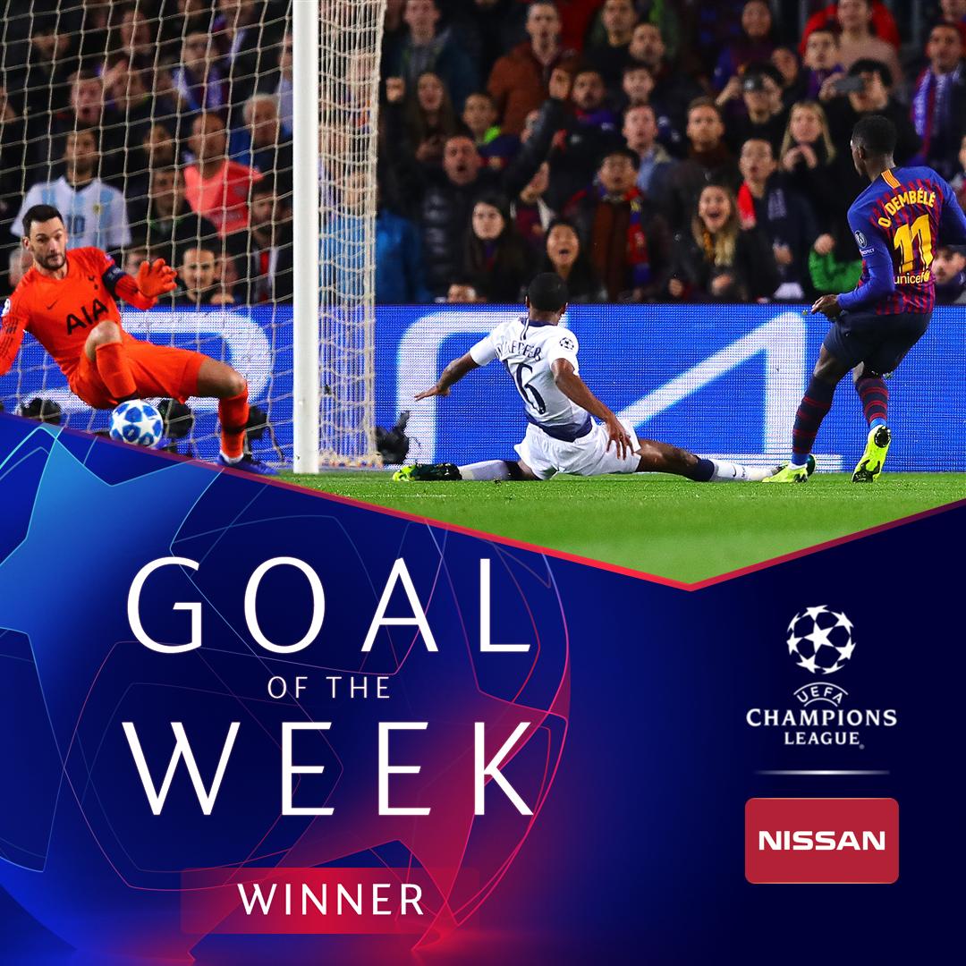 Ousmane Dembélé 🔥🔥🔥  First #UCL Goal of the Week award 👏👏👏