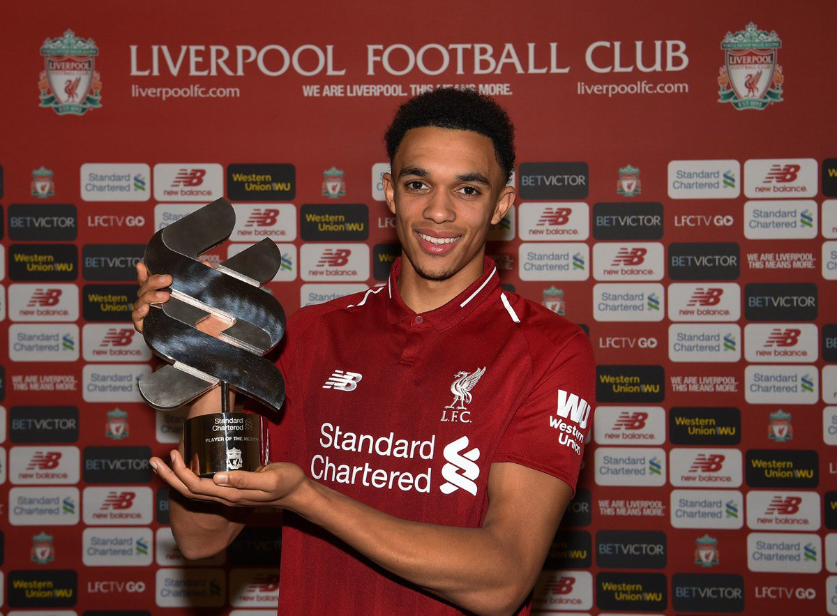 🙌 Trent Alexander-Arnold has been named @StanChart's Player of the Month for November: https://t.co/DjIOFnBkQy   Well deserved, @trentaa98! 💫