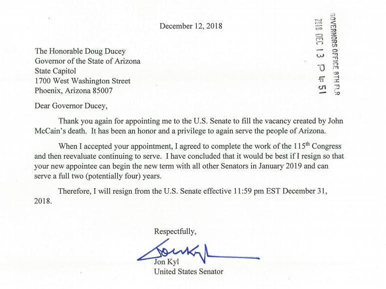 JUST IN: Arizona Sen. Jon Kyl sends letter to Gov. Ducey announcing he will resign from the US Senate effective Dec. 31.   A replacement will be announced 'in the near future,' Gov. Ducey says.