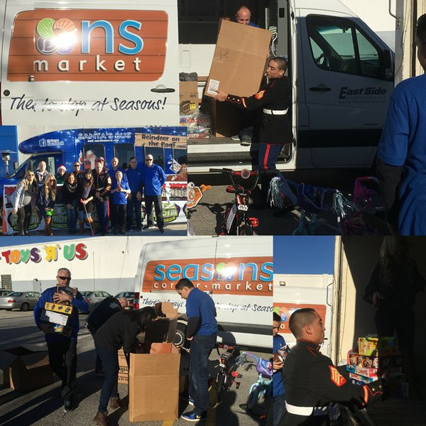 #FlashbackFriday The Seasons team helping our #Marines donate presents to Toys For Tots!