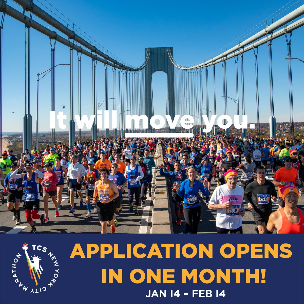 Save the date! 🗓️ The 2019 #TCSNYCMarathon application opens on Monday, January 14. Learn more about the application process here: bit.ly/2Lhb9tt