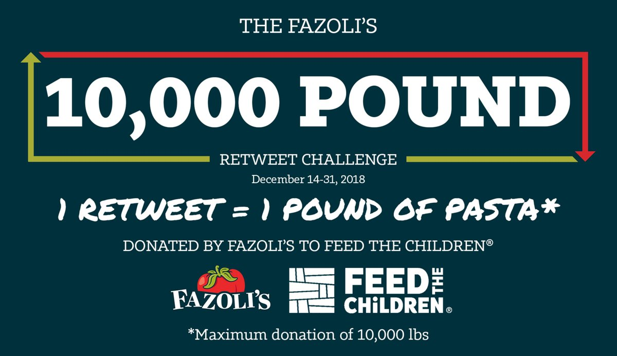 This holiday season, let's help those in need! 1 RETWEET = 1 POUND OF PASTA DONATED to @feedthechildren (ends 12/31/18). #defeathunger #FeedtheChildren #Fazolis