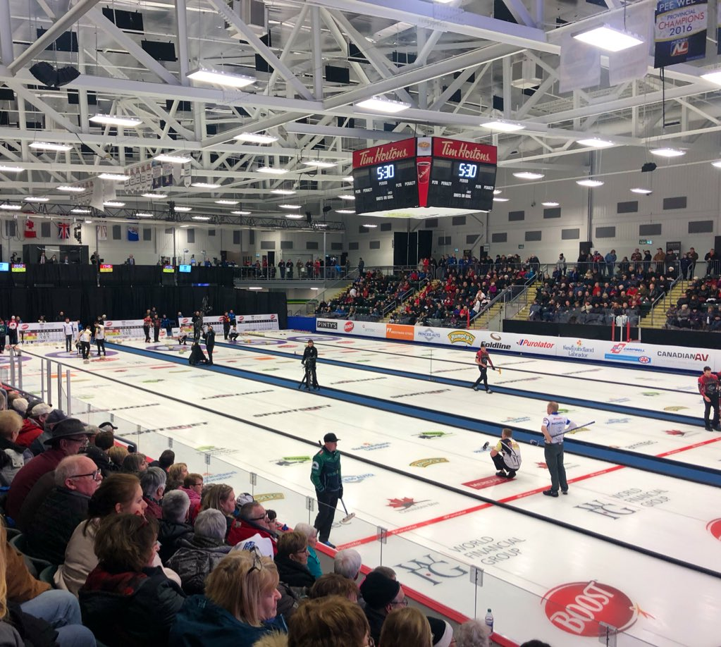 I'm in the middle of the crowd and about to go live on @CBCNL Radio.   This is a first.   More cowbell. #cbccurl @OnTheGoCBC