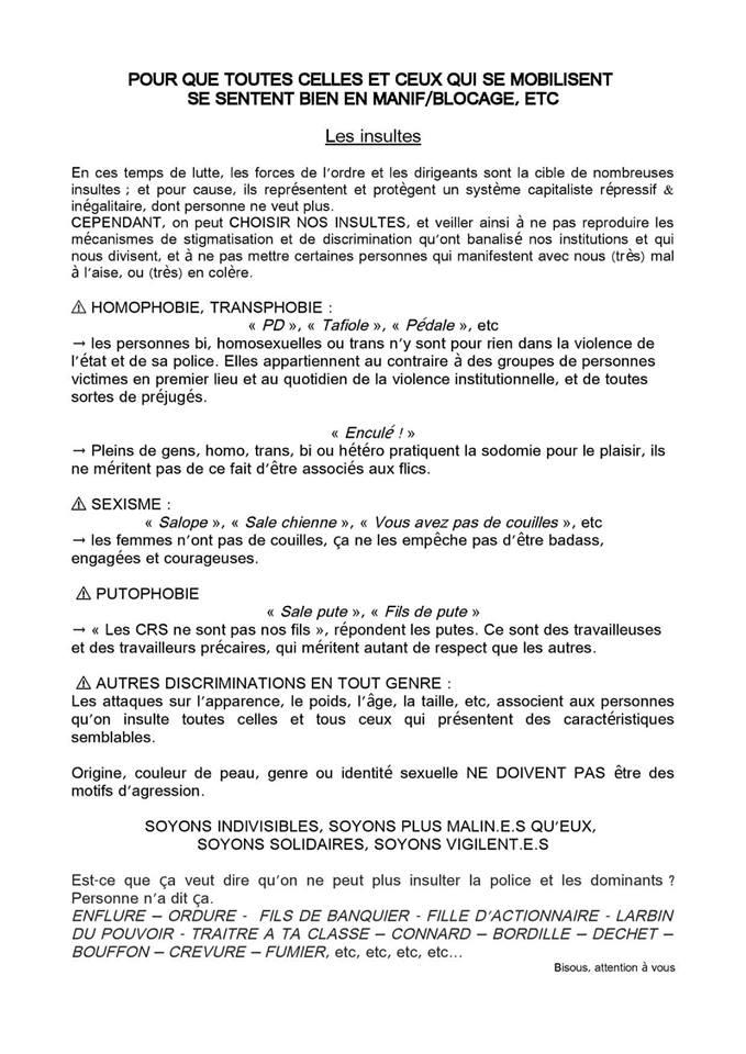 Fils d'actionnaire au lieu de fils de pute. Un manuel pour des insultes non-homophobes, non-transphobes, non-sexistes et non-putophobes posté sur un des events de l'acte V.