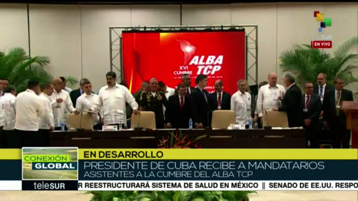 #ENVIVO| Presidente de #Cuba recibe a mandatarios asistentes a la cumbre del Alba TCP  #AlbaEsFuturo #AlbaUnida → https://t.co/tqMKHfl0b4