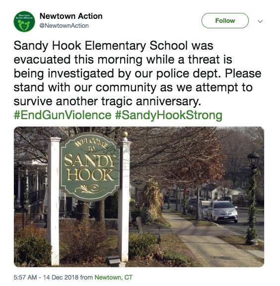 Sandy Hook Elementary was evacuated today on the 6-year anniversary of the mass shooting. The school received a bomb threat and it was found to not be credible, police tol @WFSBnewsd .