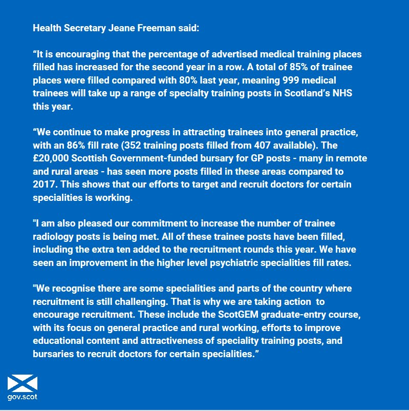Health Secretary @JeaneF1MSP today welcomed @NHS_Education figures showing the number of medical training places filled has increased for the second year in a row