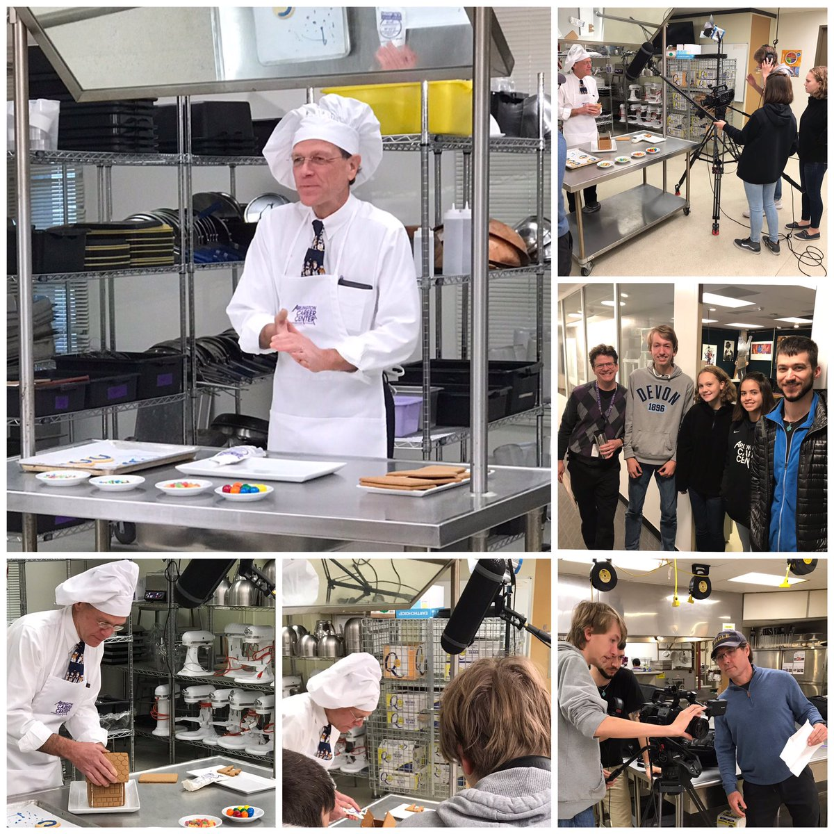Arlington Tech TV students Seb, Lina, Ava and Jordan record Dr. Murphy's Holiday message in the Culinary Arts lab at the Career Center. Thanks to AETV's tech support and the acting skills of Patrick Henry students. <a target='_blank' href='http://twitter.com/arlingtontechcc'>@arlingtontechcc</a> <a target='_blank' href='http://twitter.com/CharlesRandolp3'>@CharlesRandolp3</a> <a target='_blank' href='http://twitter.com/APSVirginia'>@APSVirginia</a> <a target='_blank' href='http://twitter.com/Margaretchungcc'>@Margaretchungcc</a> <a target='_blank' href='https://t.co/kBwXOM4yI5'>https://t.co/kBwXOM4yI5</a>