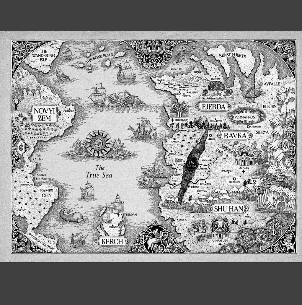 Have you seen the beautiful new map of the Grishaverse by Sveta Dorosheva? Color version and where to find it are up on my IG 🌙🖤