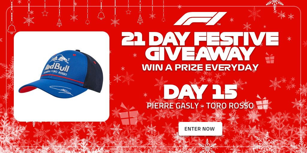 Were into the third and final week of of our #F1FestiveGiveaway! 🎁 Day 15s offering from the F1 Store? This fetching @PierreGASLY cap 🧢 Plus, another chance to be entered into our draw for two Paddock Club tickets to a race next season >> f1.com/FestiveGiveaway