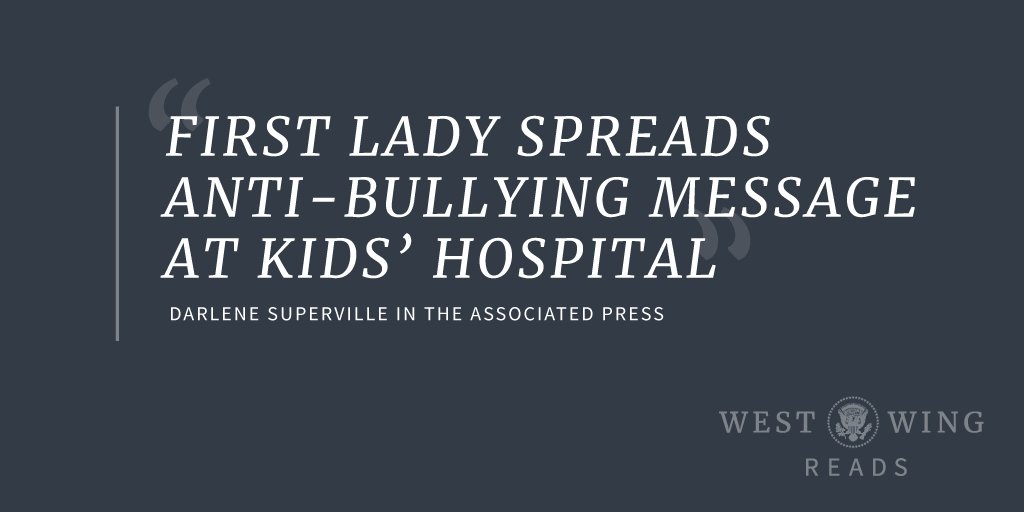 Yesterday, @FLOTUS continued an annual tradition that dates back to First Lady Bess Truman—a Christmastime visit to Childrens National Hospital. More in West Wing Reads: 45.wh.gov/8V3xFi