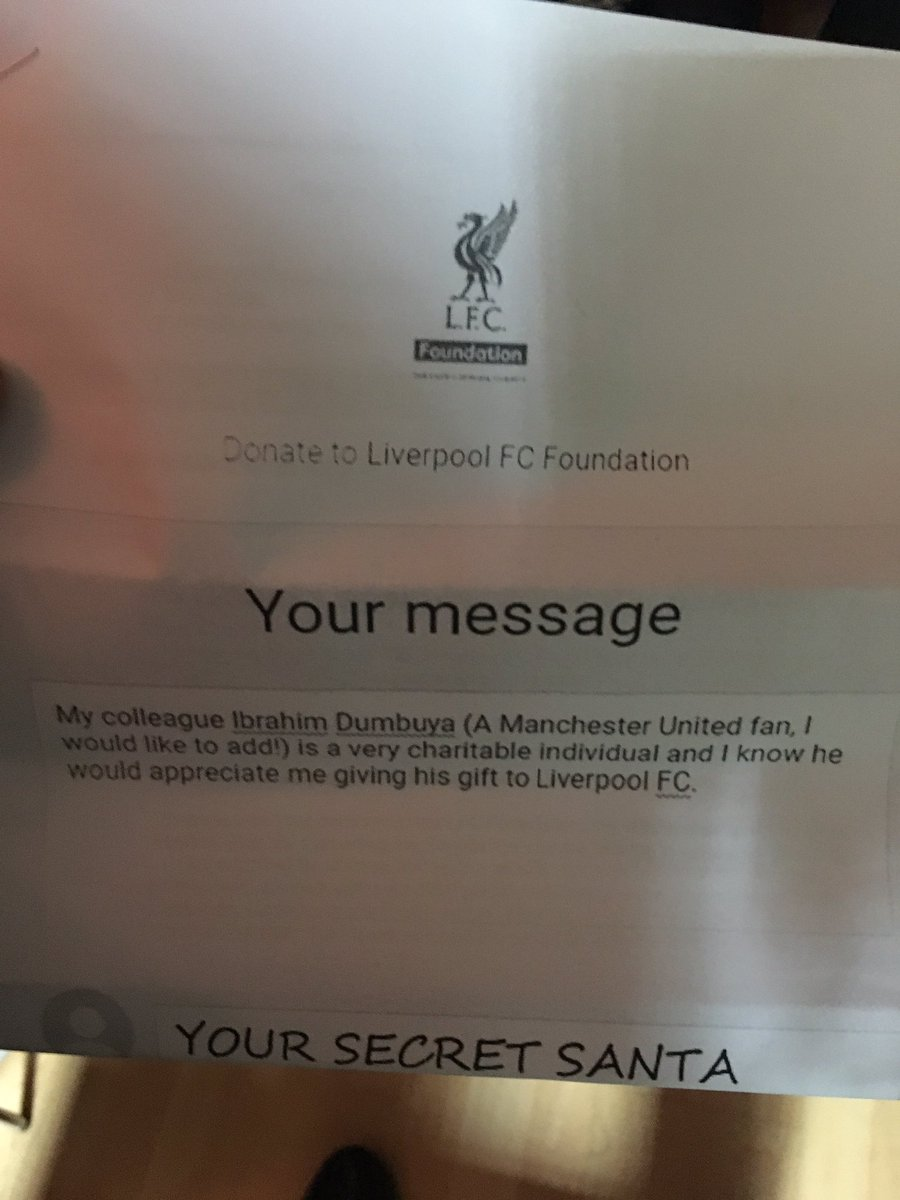 @LFC when secret Santa is brilliant this year for my boy Ibrahim #lfc #MUTV what a guy he is...
