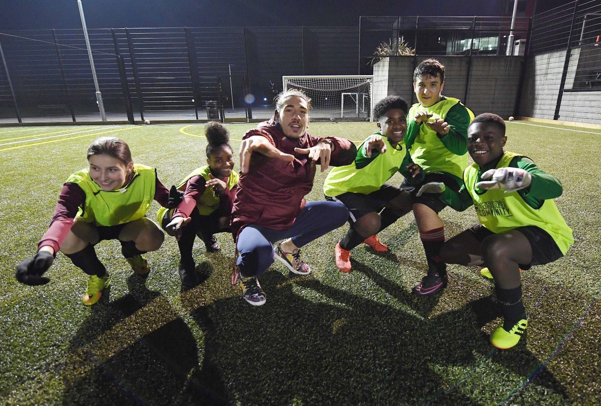 What a night with these kids ❤️ The @AFC_Foundation donation of £50,000 helped build a pitch @skinnersacademy and provide a safe environment for them to be themselves!!