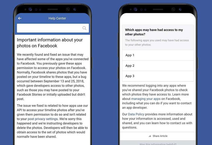 Facebook has started notifying affected users of the incident through an alert on their timeline that their photos may have been exposed, which will direct them to its Help Center page with more information.