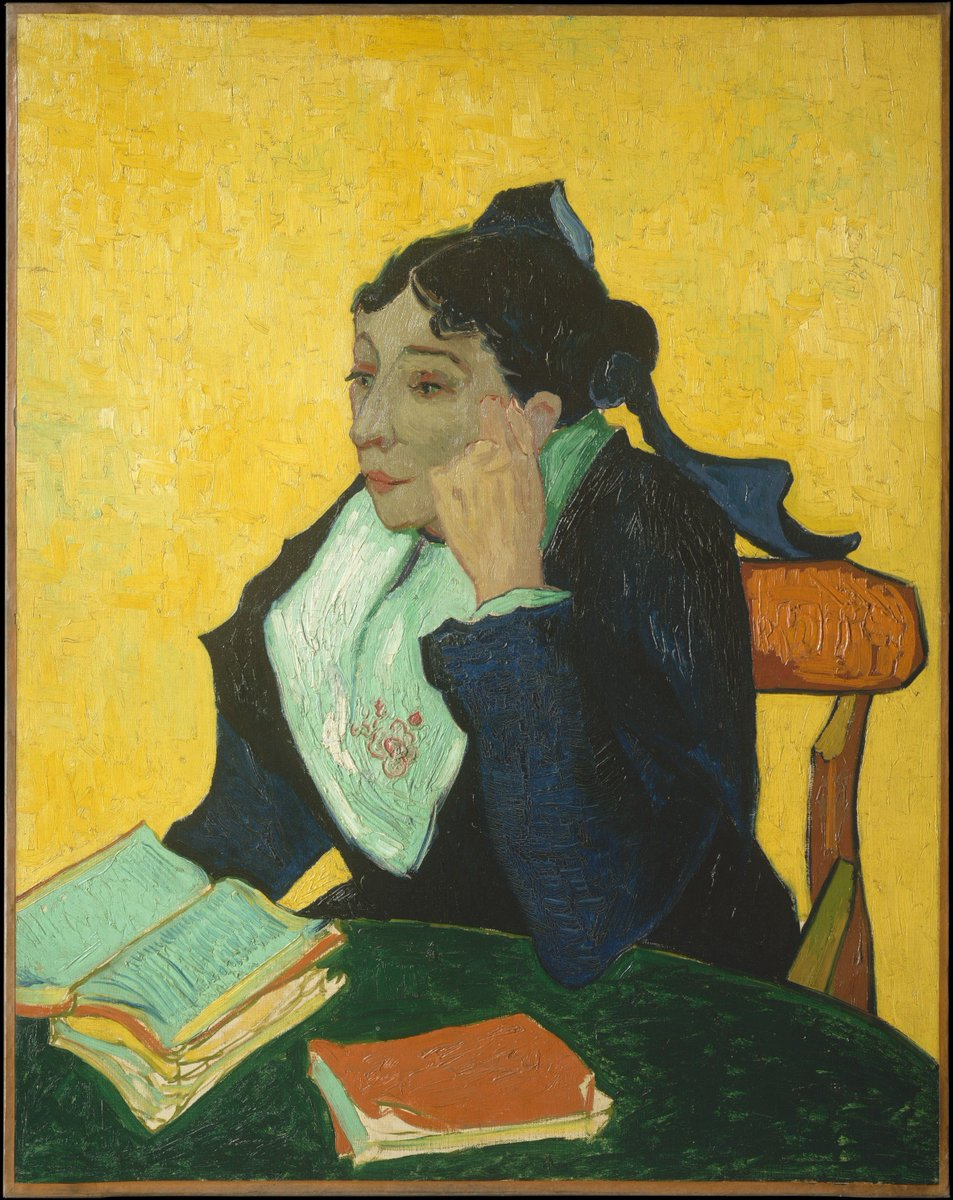 Studying for final exams? You might be hitting the books like Madame Ginoux appears to be doing in this 19th century portrait by Vincent van Gogh: https://t.co/I7kkGTP27e.