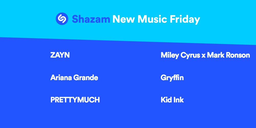 #NewMusicFriday is here! Listen to the latest from @zaynmalik, @ArianaGrande, @PRETTYMUCH, @MileyCyrus x @MarkRonson, @gryffinofficial, @Kid_Ink & more ---> apple.co/2hqUyJb 🎉🎉🎉