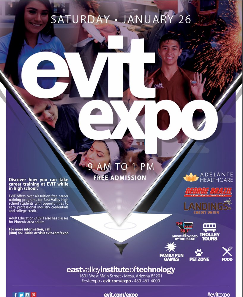 Do you want to earn a professional certification tuition-free while earning your high school diploma? Check out all of the amazing programs at East Valley Institute of Technology (EVIT) at the EVIT Expo on the Mesa campus Saturday, January 26th from 9 am to 1 pm: More info below: <br>http://pic.twitter.com/66JiaVpY9o