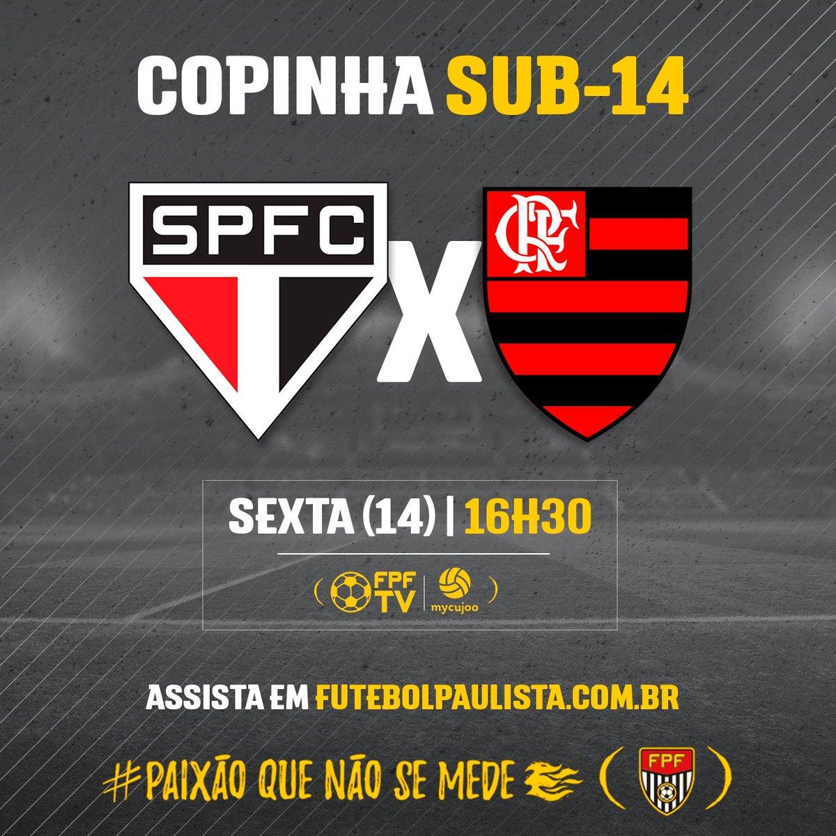 AO VIVO! Assista ao confronto entre São Paulo e Flamengo, válido pela Copinha Sub-14! Link do jogo👉 https://t.co/ZChCjRqJEc #FPF #EsseÉoMeuJogo #FutebolPaulista #PaixãoQueNãoSeMede