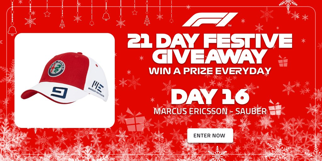 Day 1️⃣6️⃣ of our #F1FestiveGiveaway = This @Ericsson_Marcus cap 👌 As well as this F1 Store merch, you have the chance to win 2x Paddock Club tickets to a 2019 race! >> f1.com/FestiveGiveaway