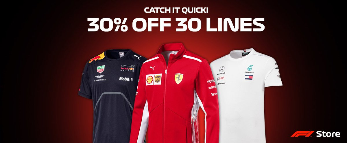 🚨 Sale alert! 🚨 Theres a whopping 3️⃣0️⃣% off 3️⃣0️⃣ selected lines right now in the F1 Store! Take a look here >> f1.com/Store-30