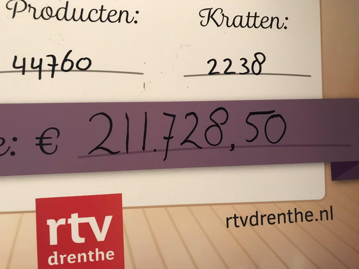 Wauw!! 211.728,50!!! Dik over de twee ton aan goederen en geld voor #vb18 @RTVDrenthe #SamenvoordeVoedselbank18 Top!! Iedereen in #Drenthe! DANK!! https://t.co/uXJ86VyHxj