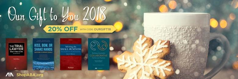 As 2018 wraps up, we want to thank our @ABAesq book buyers! Take 20% off 32 of out best titles! Use code OURGIFT18 at checkout 🤩 bit.ly/2B5ukC4