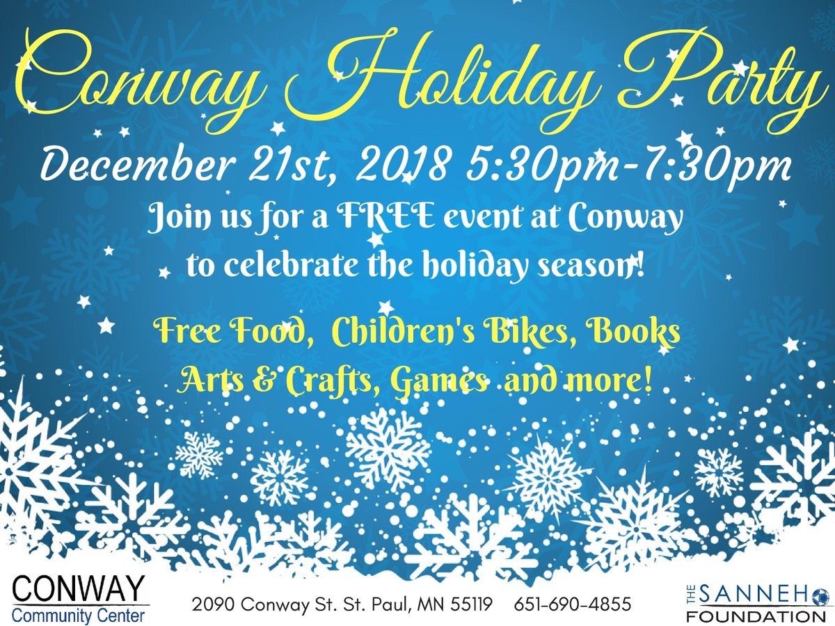 test Twitter Media - Join us at Conway Community Center on December 21st for the Conway Holiday Party! https://t.co/9NtNgtweAQ