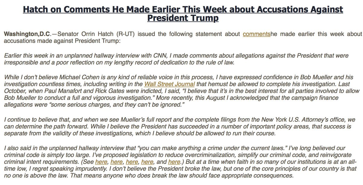 NEW: Sen. Orrin Hatch says he regrets 'irresponsible' comments on Trump allegations.  'I don't believe the President broke the law, but one of the core principles of our country is that no one is above the law...anyone who does break the law should face appropriate consequences.'