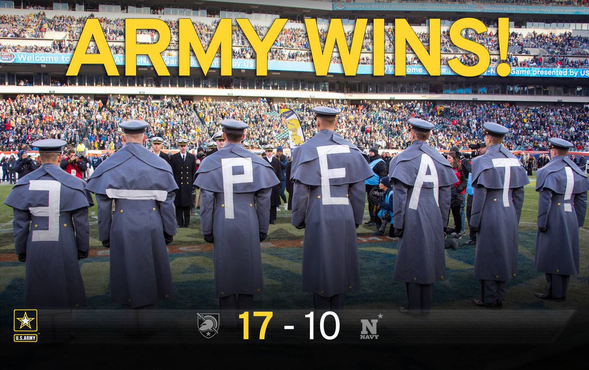 #ICYMI, three in a row for Army!   #FlashbackFriday  #Army #Navy