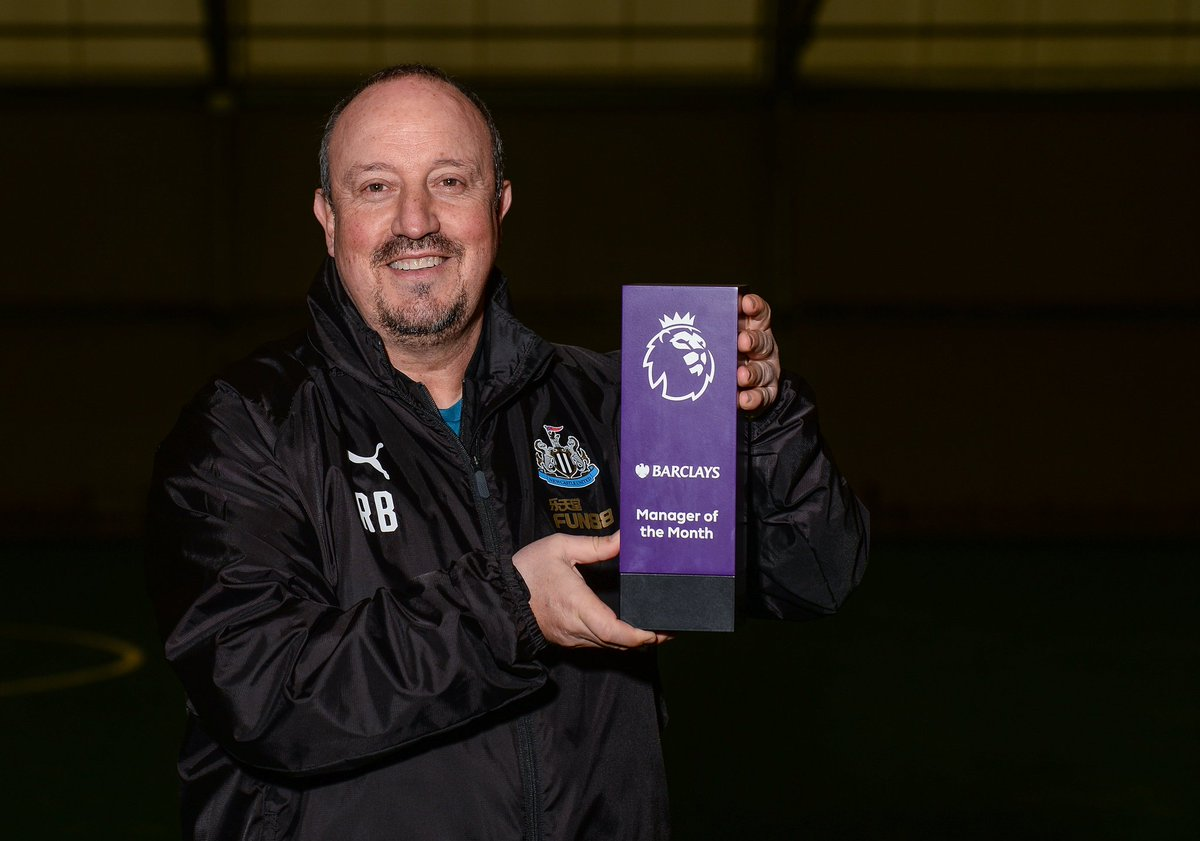 🔴 November 2005 🔴 December 2005 🔴 January 2007 🔴 October 2008 🔴 March 2009 🔵 April 2013 ⚫️ November 2018  Rafael Benitez has been named Premier League Manager of the Month for the eighth time 👏