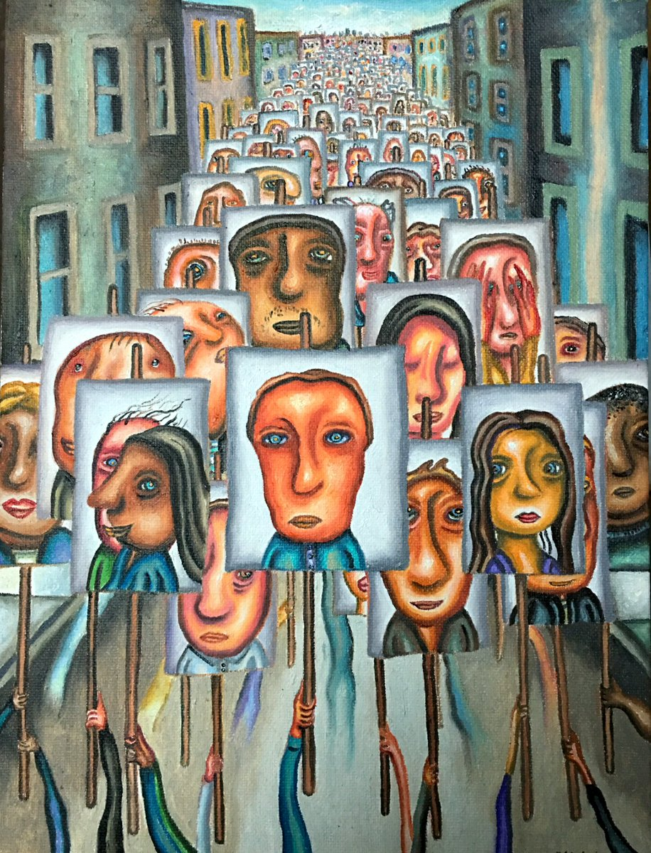 """Marcelflisiuk on Twitter: """"""""We the People"""" 9 x12 inch oil #Art #アート #artist  #arte #obraz #sztuka #kunst #konst #gallery #galleries #painting #museum  #HumanRightsDay #HumanSolidarityDay #oilpainting #Protest #Protests #city  #artem #March #marching ..."""