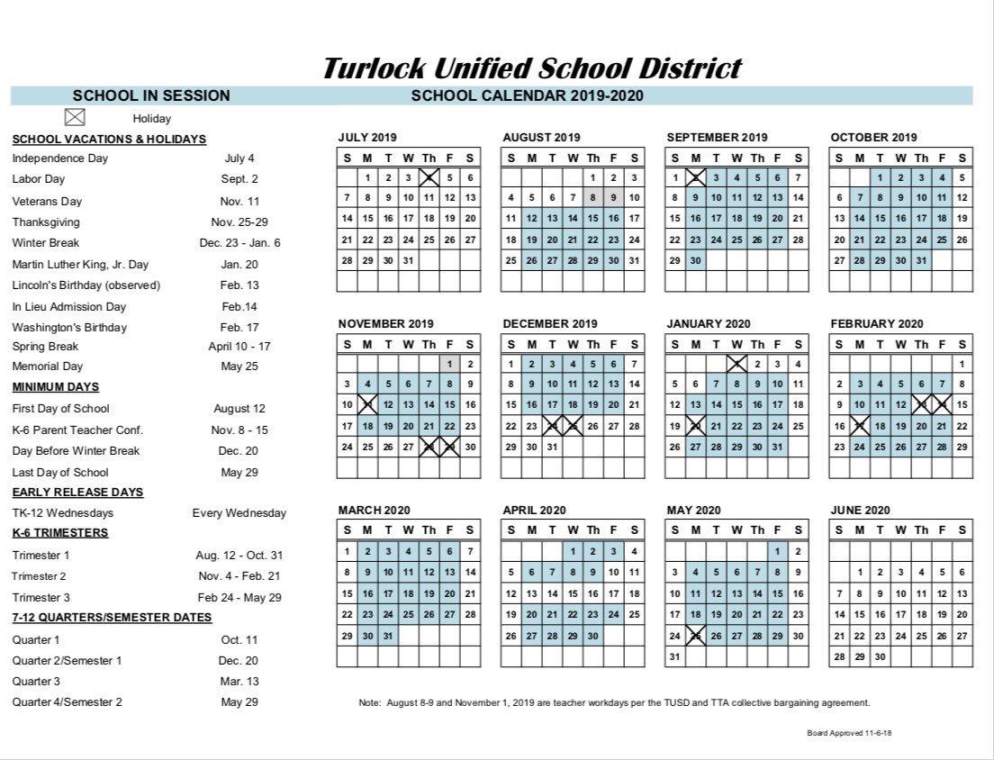 Tusd Calendar 2020 Turlock USD on Twitter: