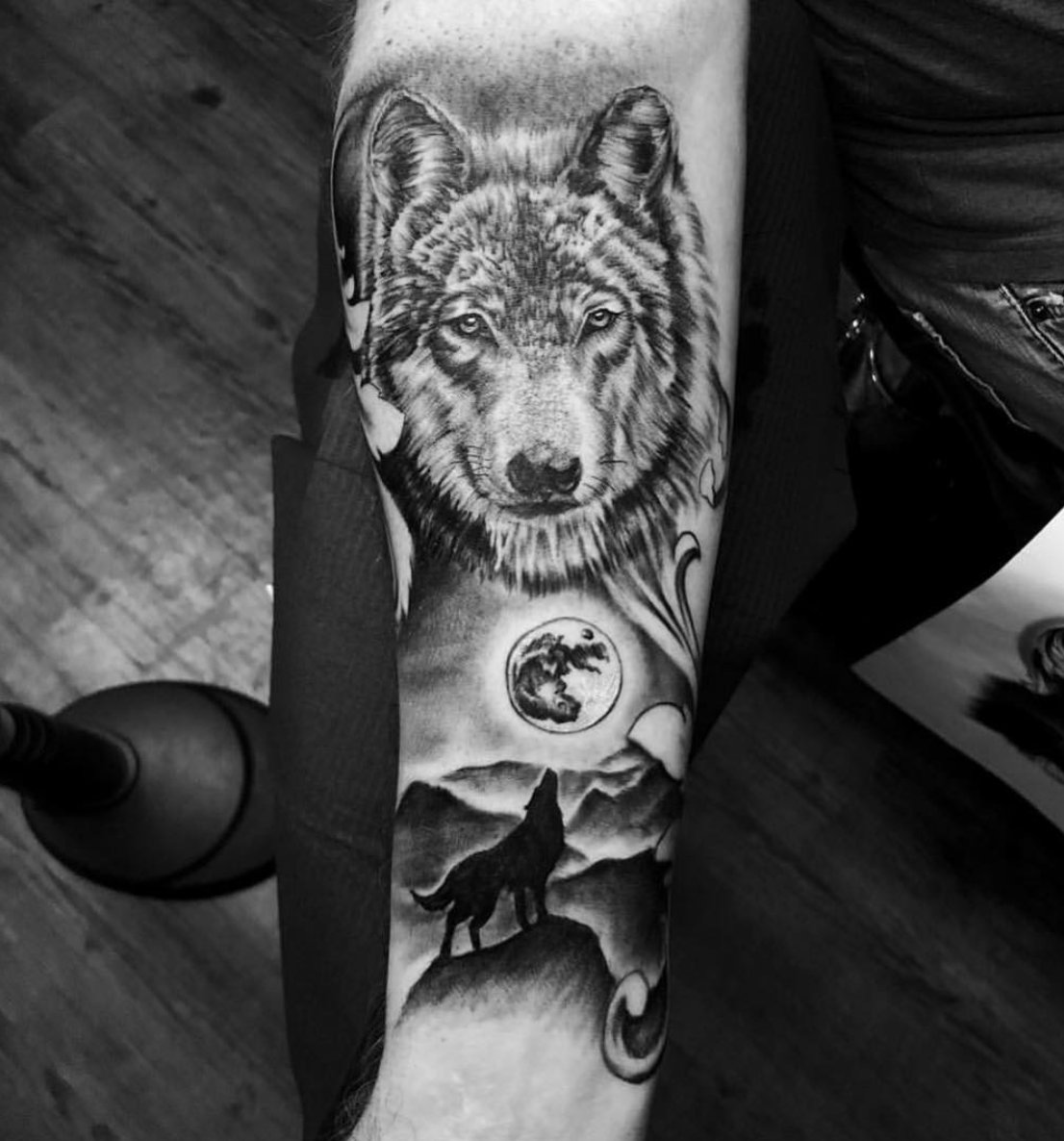 921aa4ccad5ae Black and grey wolf tattoo by Javier at Dark Age Tattoo Studio in Denton  Texas E
