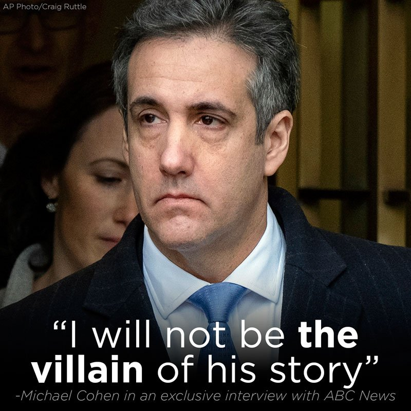 """I have my freedom…and I will not be the villain of his story"": Read Michael Cohen's exclusive interview with @ABC News https://t.co/ze31dSDaHf"