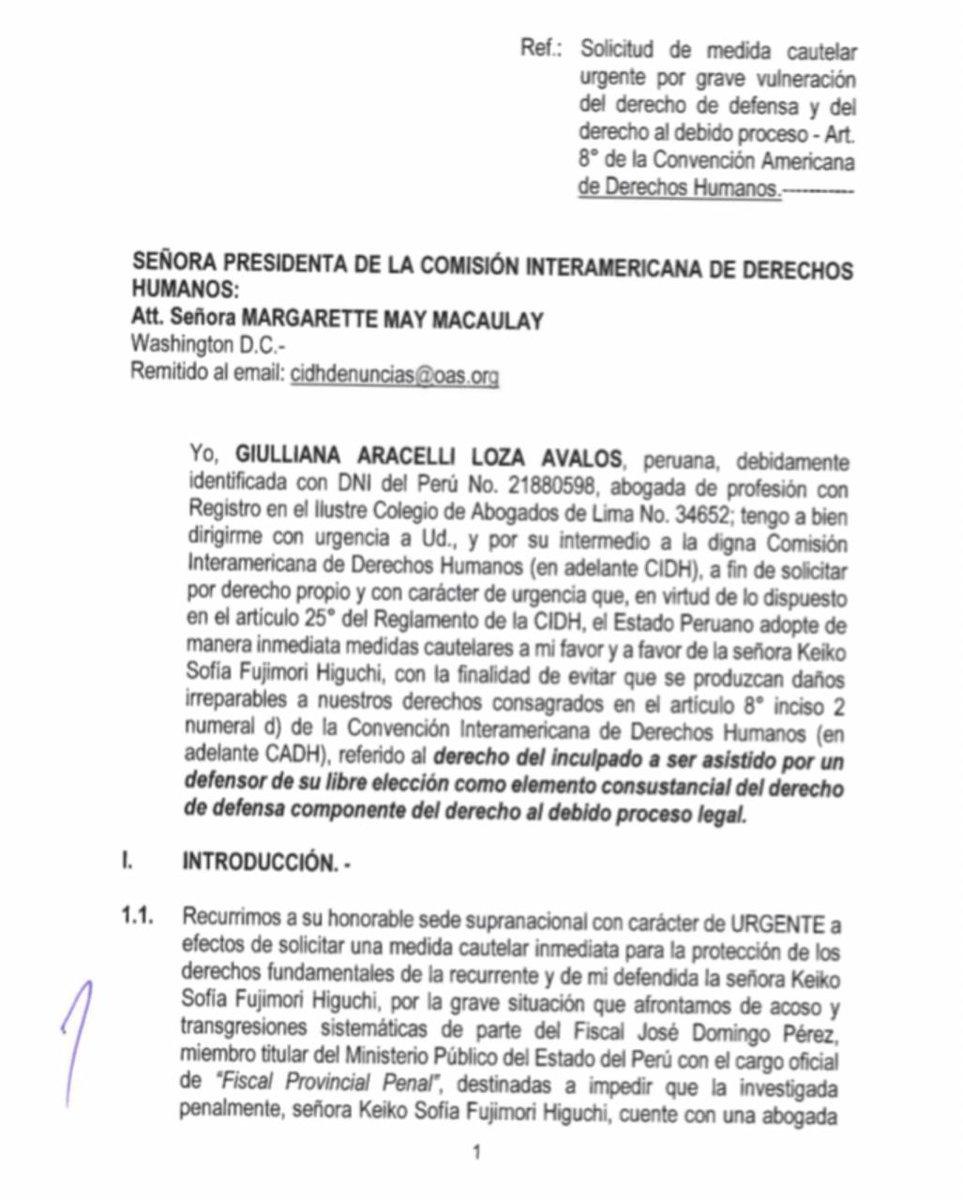 ... ,estamos solicitando a la CIDH Medidas Cautelares URGENTES para  salvaguardar el Derecho de defensa y el Debido Proceso .pic.twitter.com/Cyx7GbHZUC