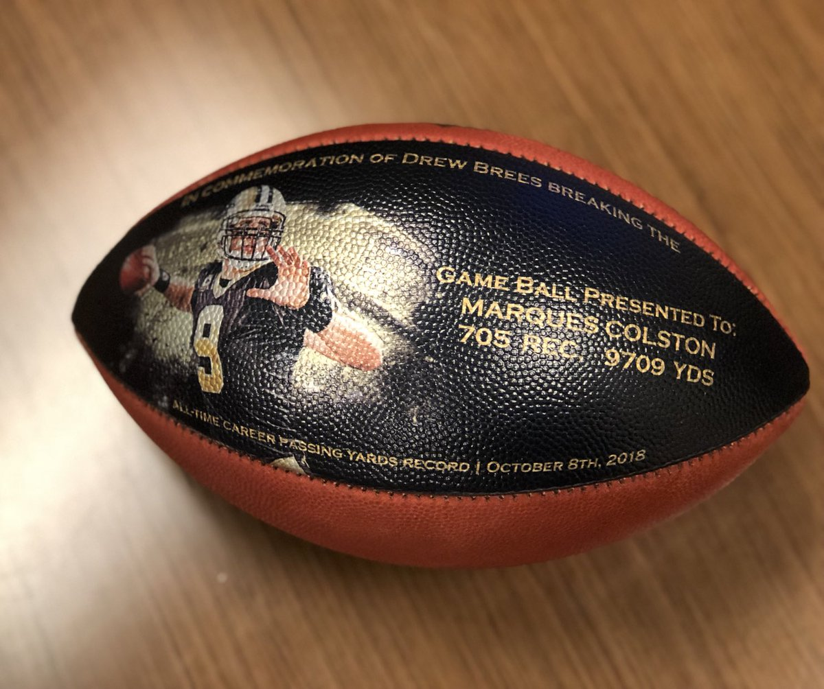 Drew Brees sent a customized game ball and a personalized letter to anybody that caught a pass from him or started at offensive line during his career for their contributions to his all-time @NFL passing yardage record!