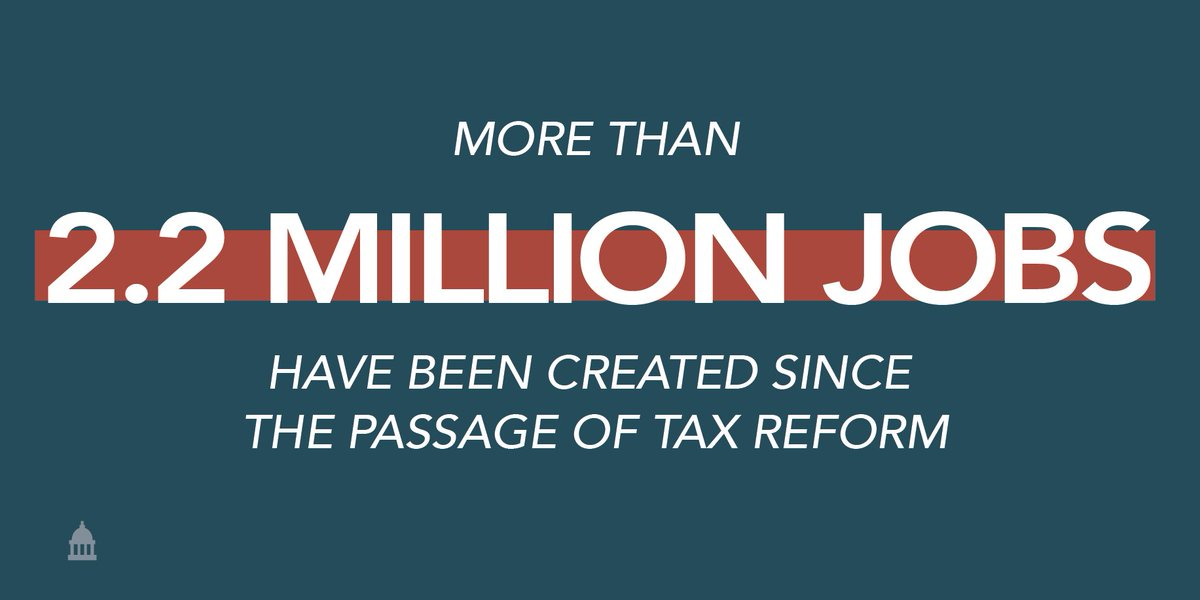 The #TaxCutsandJobsAct has delivered on its promise to create jobs for hardworking Americans.
