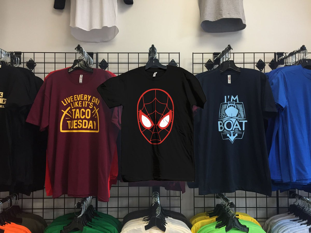 We've got a #Spiderman for whichever universe you're from. #streetstyle #queenstreetwest #queenwest #queenwestshopping #shopqueenwest #toronto #yyz #the6ix #graphictees #customtees #vinyl #business #picoftheday #shopping #fashion #apparel #intothespiderverse #spidergwen