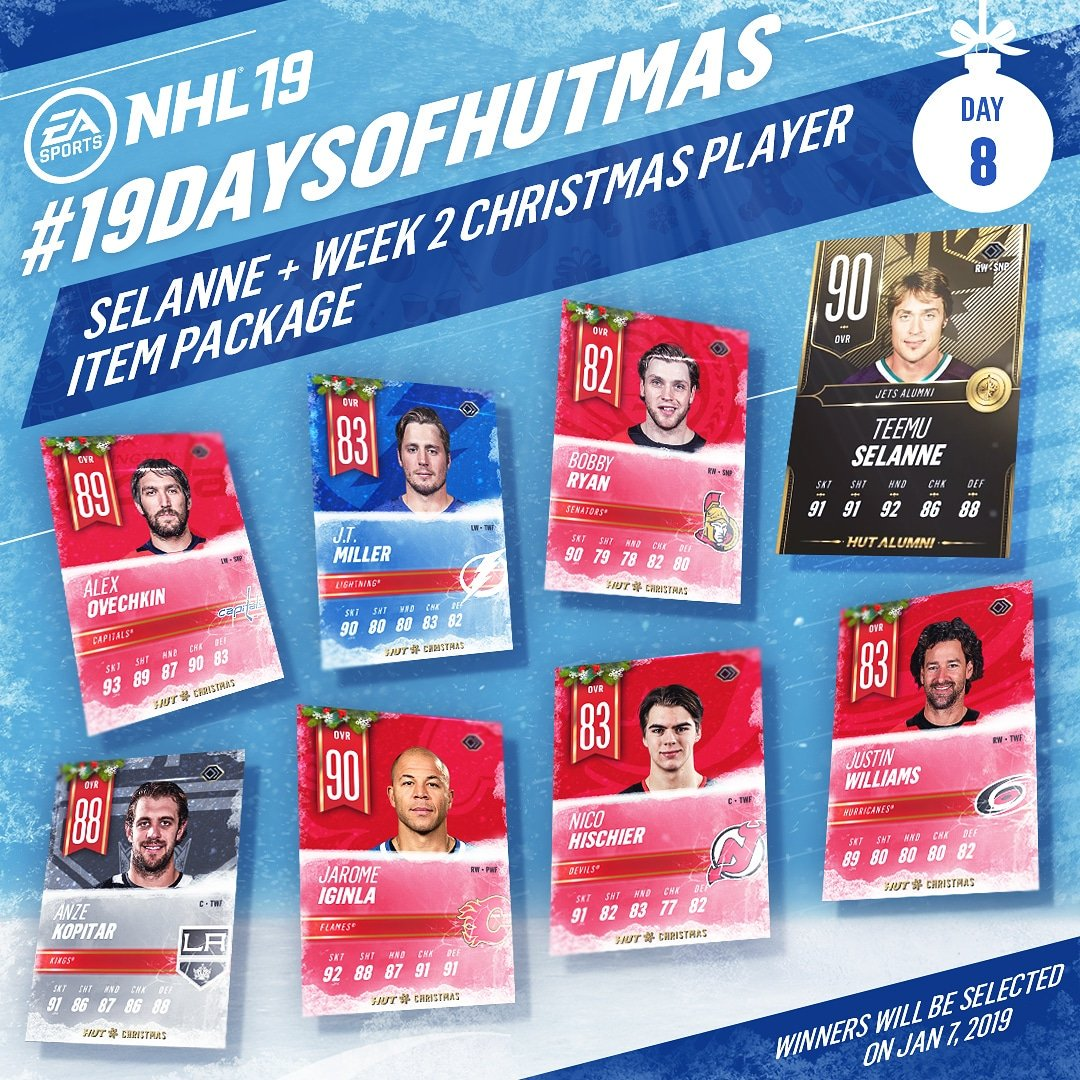Day 8: RETWEET for your chance to win this @TeemuSel8nne + HUT Christmas player pack! #19DaysofHUTmas
