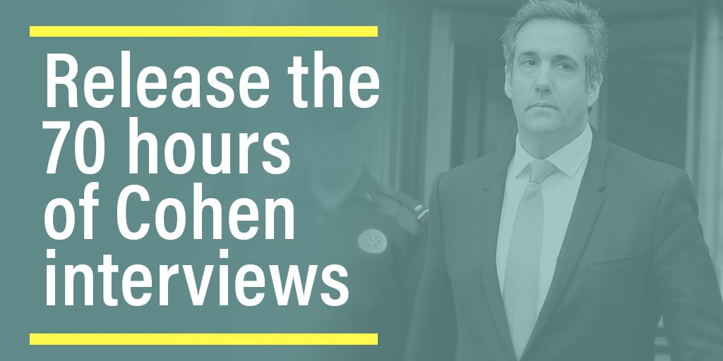 Mueller should be forced to release all 70 hours of his interviews with Cohen, so the American people can see how this inquisition is operating. Americans should be able to know whether and how often Mueller and his team threatened or blackmailed Cohen. bit.ly/2S7cAO1