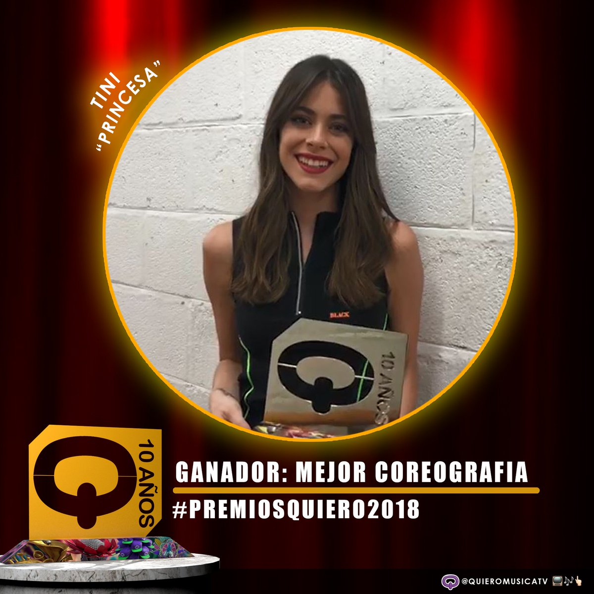 #PremiosQuiero2018 🏆🔥 #MejorCoreografia ¡Felicitaciones @TiniStoessel ! #Princesa 🙌🏻👏🏼😍
