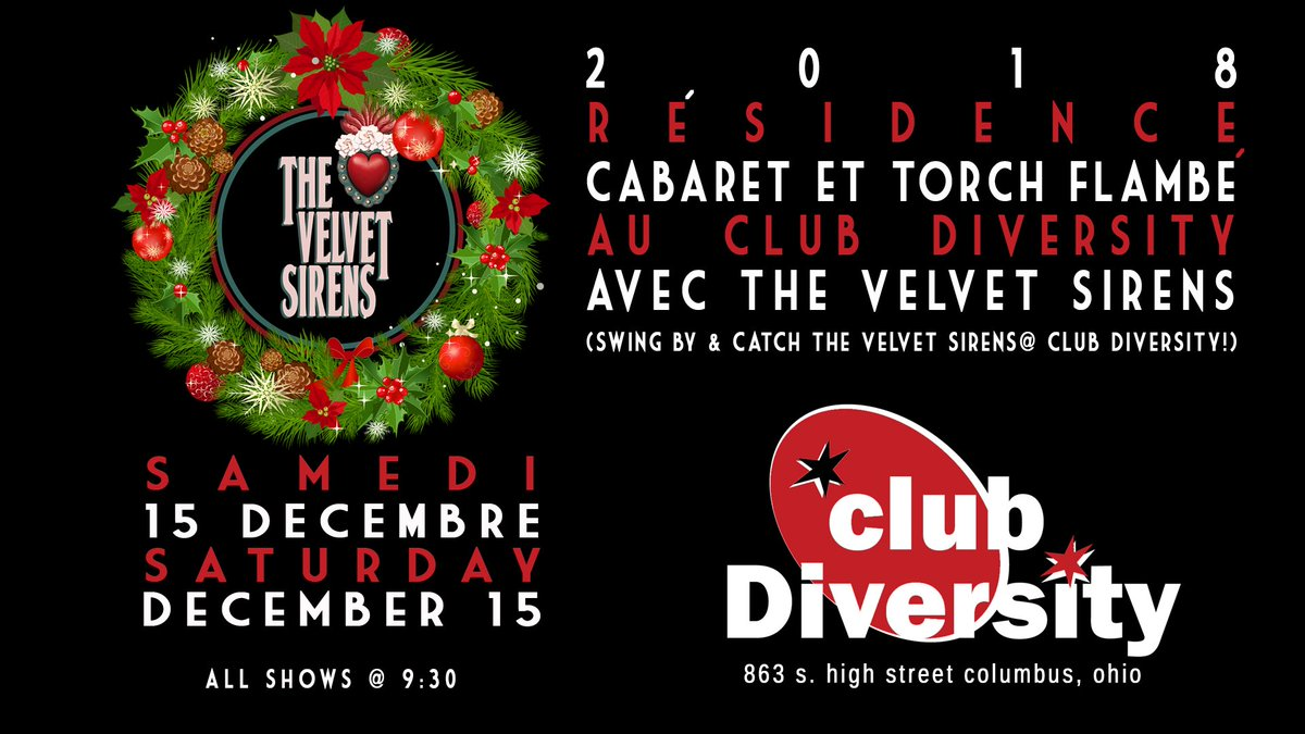#thevelvetsirens at Club Diversity! Sat. 12/15 9:30PM! Swing by for the warm atmosphere, great music (Holiday standards, too!) and the best martinis in town. See you there! #ukulele #jazz #jazzstandards #baritoneukulele # jazzukulele<br>http://pic.twitter.com/G4kNqe8xns