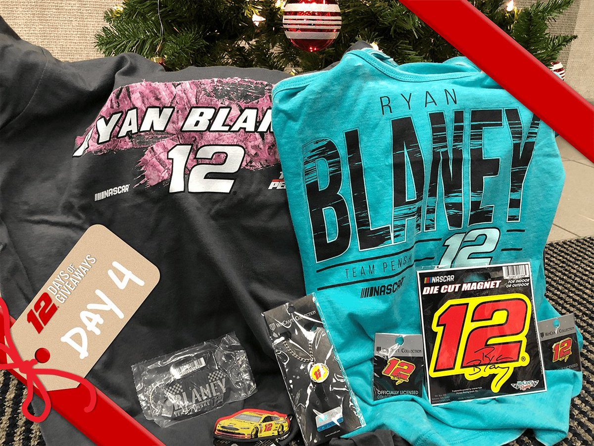 And the fourth prize for Team Penske's 12 Days of Giveaways is a @Blaney prize pack!   Includes a ladies shirt, ladies tank top, jewelry and more! Retweet and tag a friend for a chance to win.   Ends 12/16/18 at 11:59 p.m. ET. Rules: https://t.co/UN5jE5pkA3